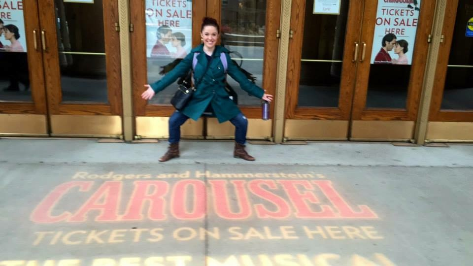 Posing with some CAROUSEL marketing outside Lyric Opera of Chicago.