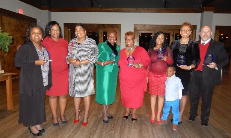 2017 APC Award Winners: (From left) Yvetta Terrell, Executive Director Candice Hillman,Rochelle Myers, Clara Calloway, Reta Thomas, Amy Jones, Dr. Angela Pringle and Dr. Jason Moore