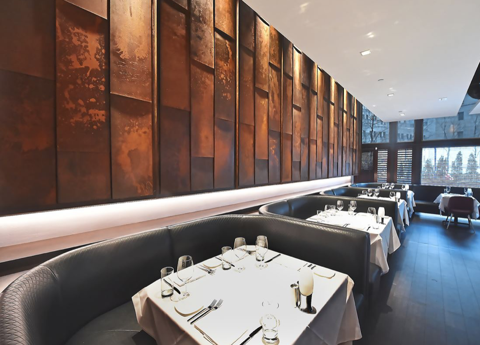 RED THE STEAKHOUSE CORTEN STEEL WALL by Peter Diana