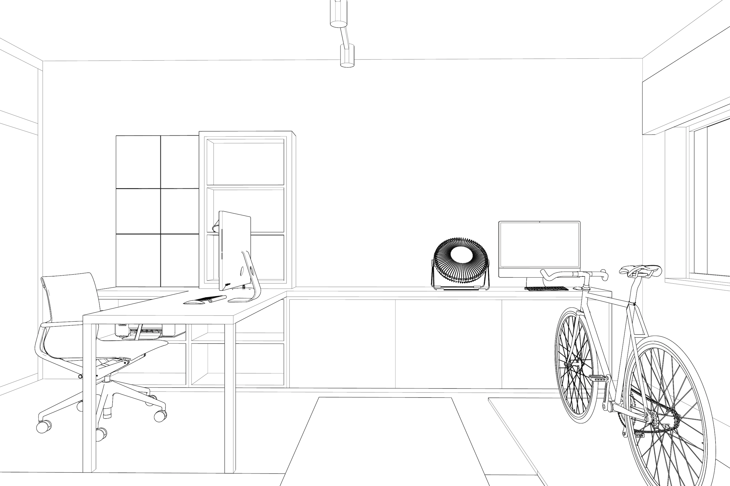 3D line drawing of office and training space for Lola Cwikowski Studio Telheiras Apartment project