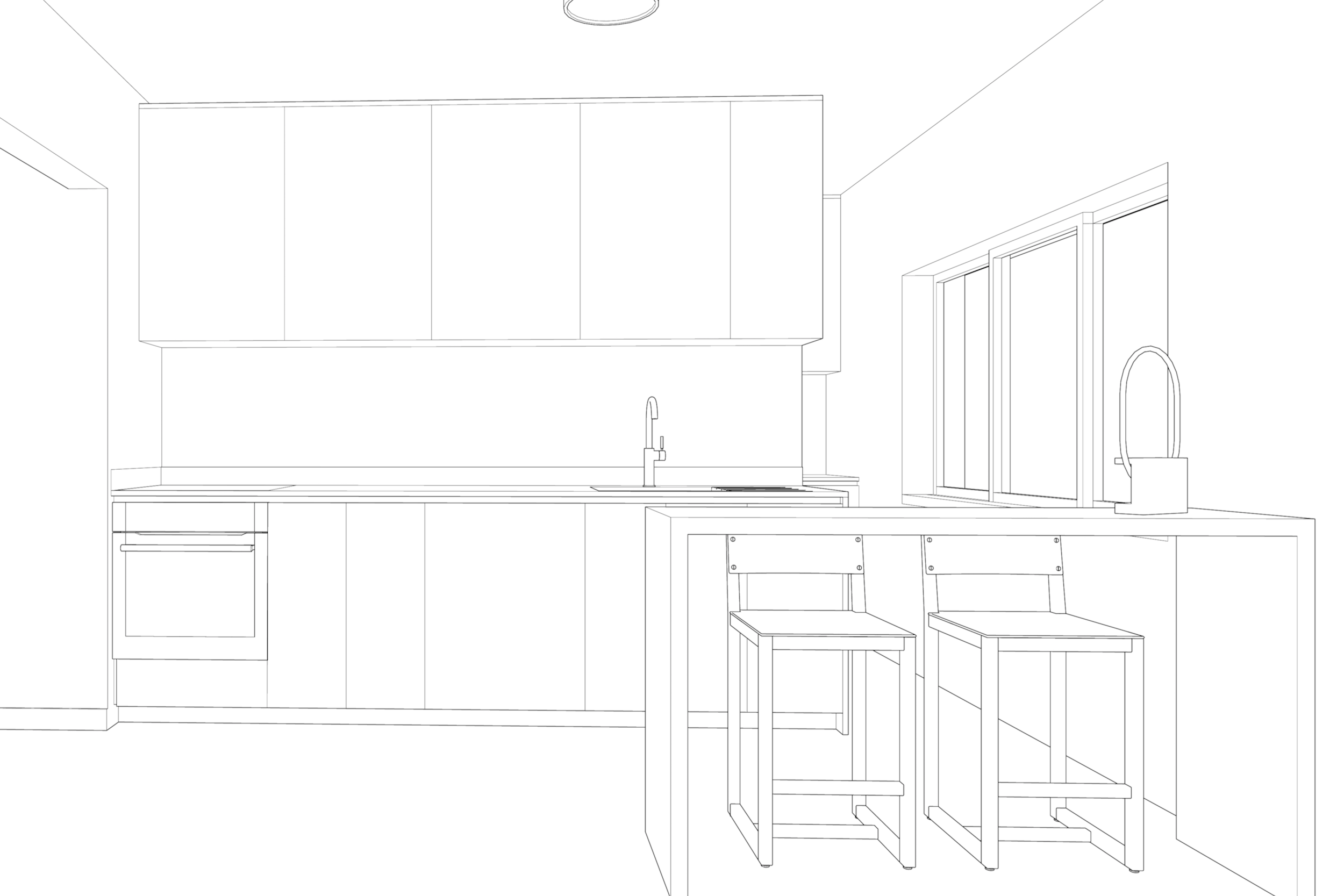 3D line drawing of kitchen and breakfast island for Lola Cwikowski Studio Telheiras Apartment project