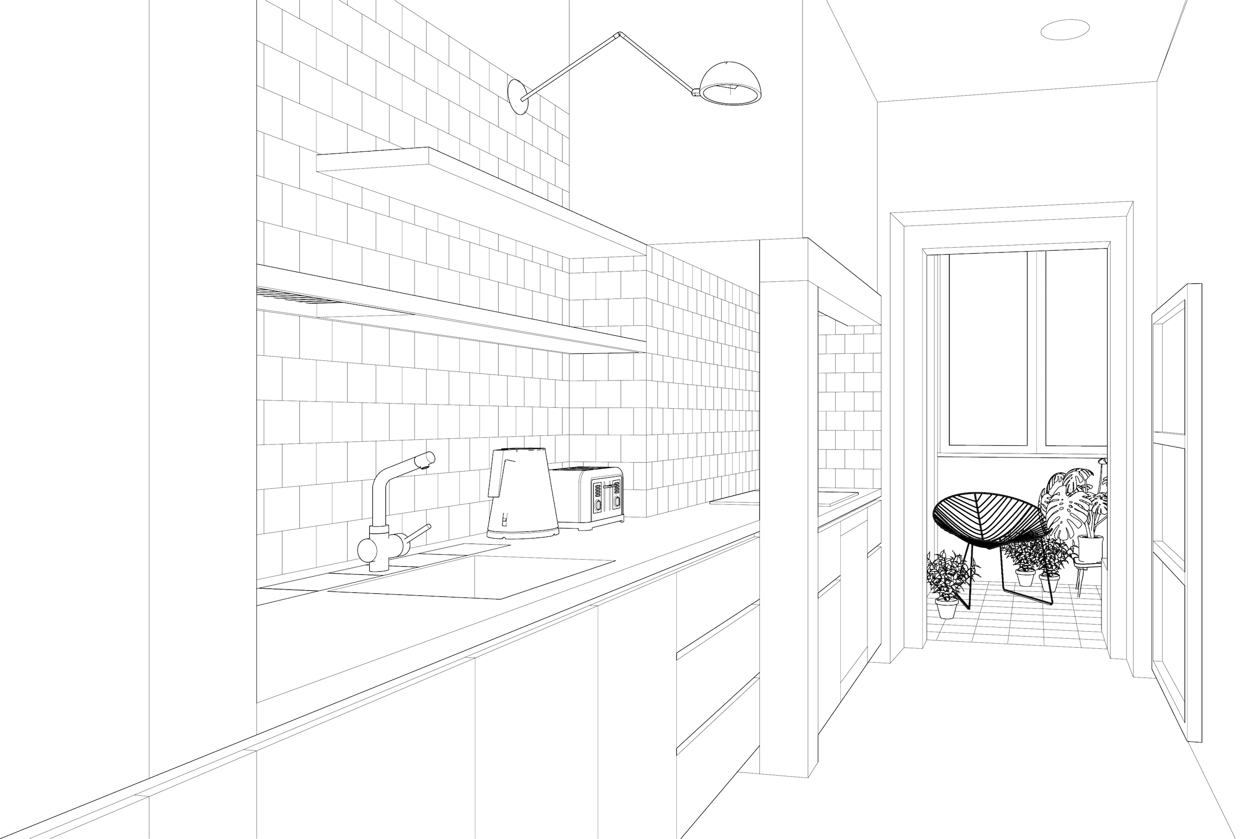 Line rendering of kitchen and sunroom of Penha da França Apartment project by Lola Cwikowski Studio