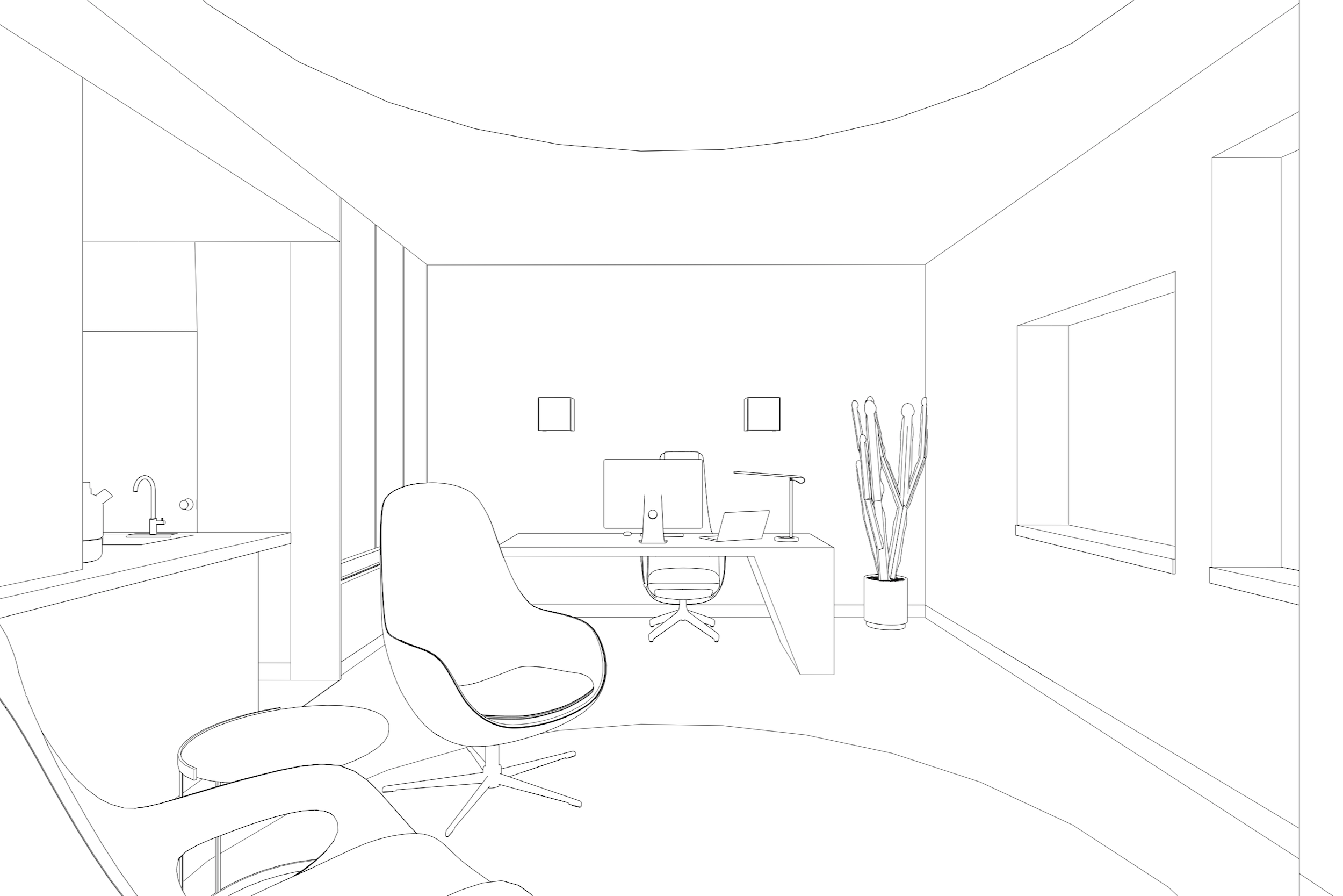 Line rendering of Lola Cwikowski studio office project with interview chairs, executive desk, and kitchenette.