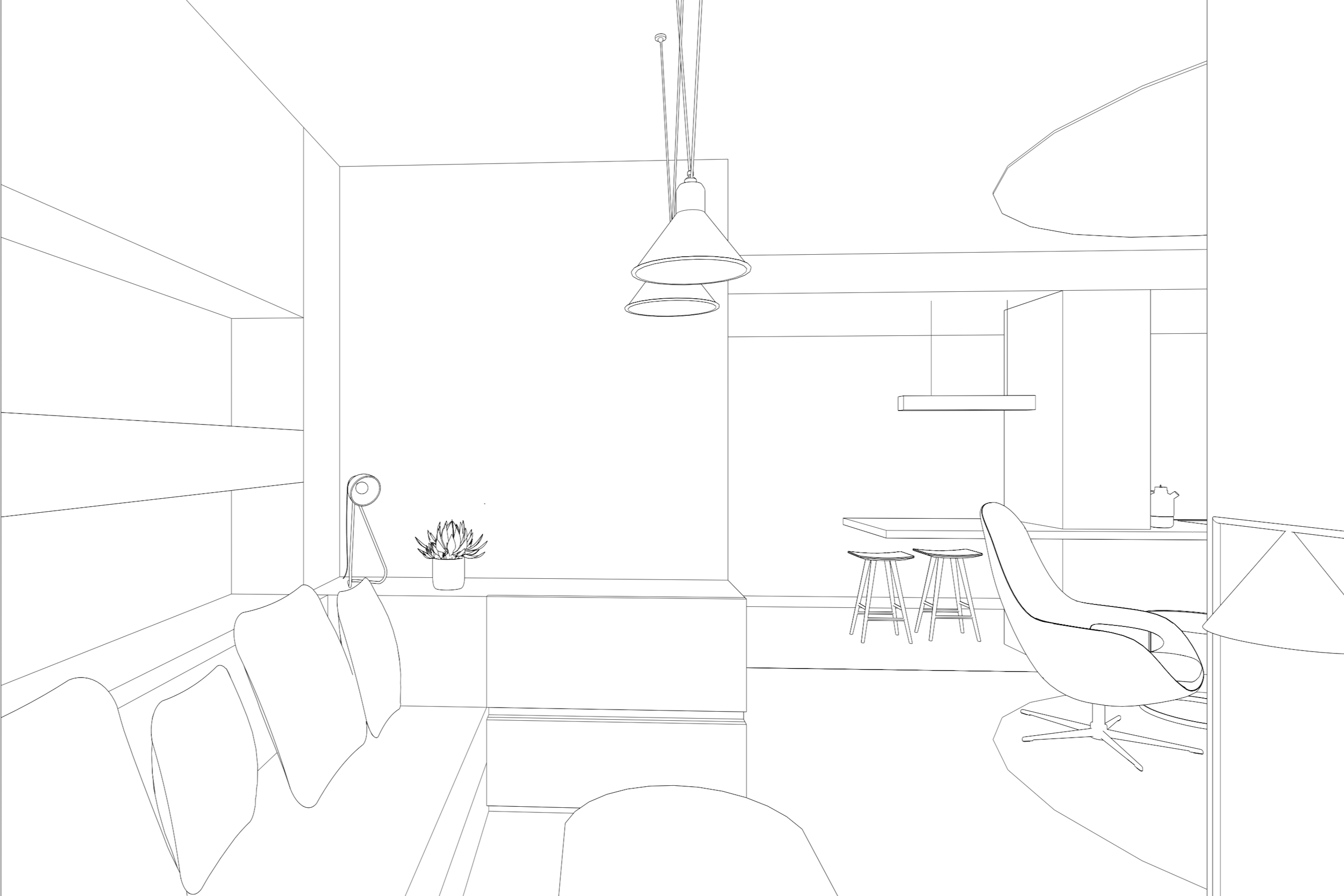 Line rendering of Lola Cwikowski studio office project with lounge area