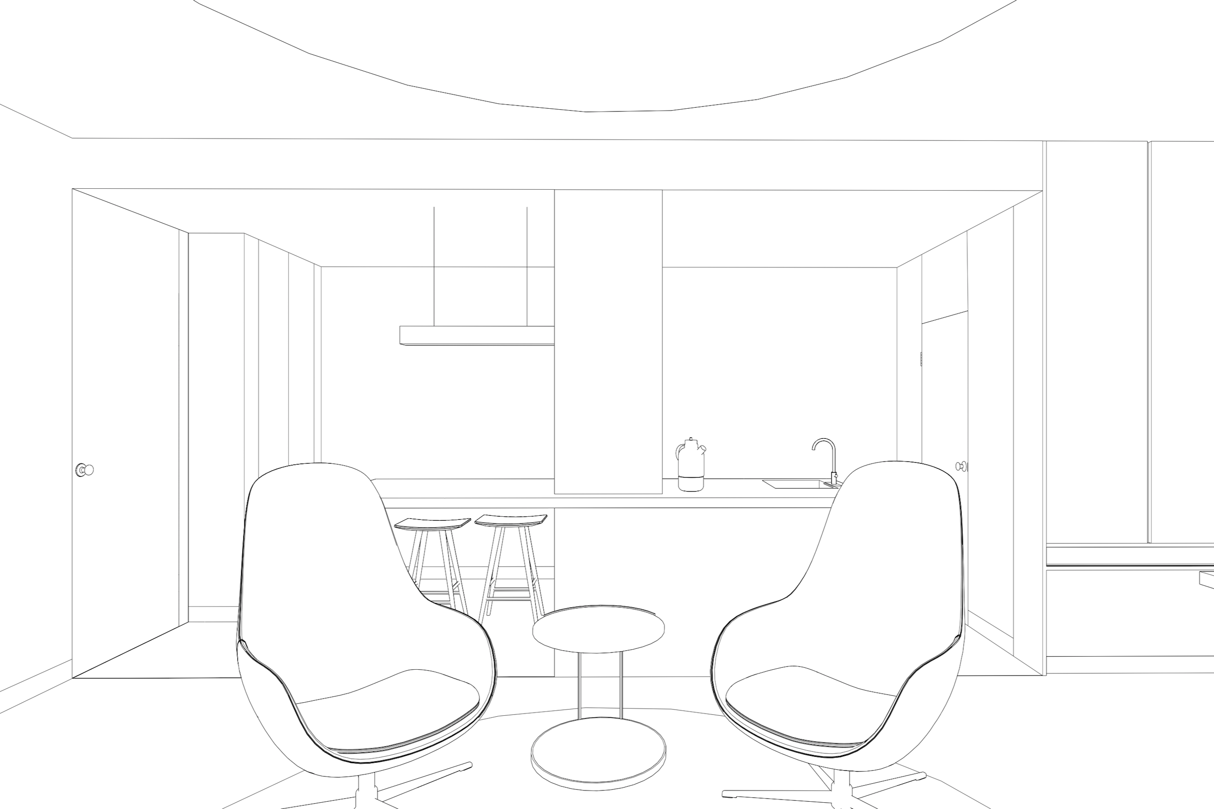 Line rendering of Lola Cwikowski studio office project, showing recording set with interview chairs and kitchenette.
