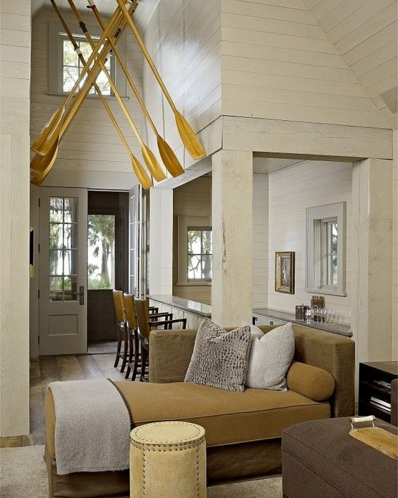 Not crazy about the furniture, but love the use of the paddles in the foyer!