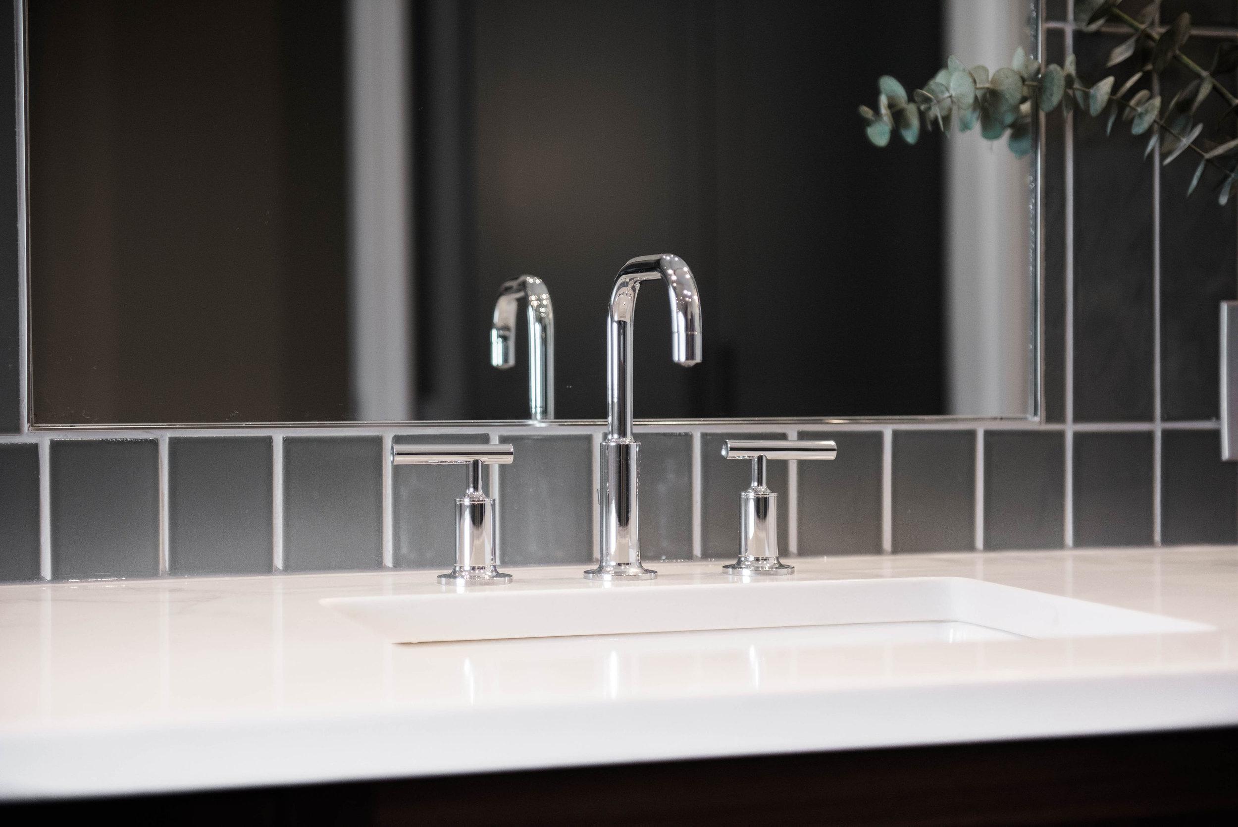 Kohler Purist faucet against Fireclay tile, classic!