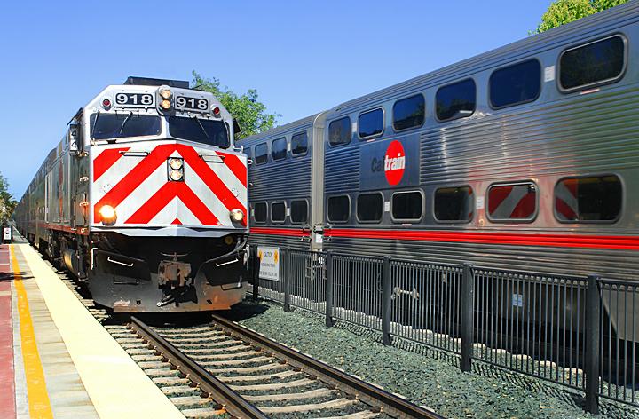 Caltrain  operates between Gilroy, San Jose/Silicon Valley, and San Francisco.   Caltrain ➝
