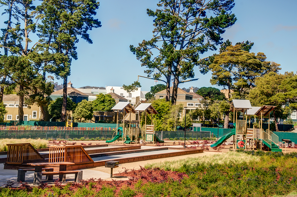 playgrounds and boccee ball courts