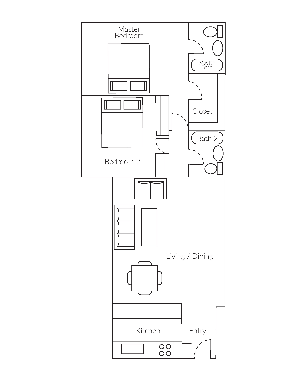 2 bedroom, 2 bathroom high-rise apartment