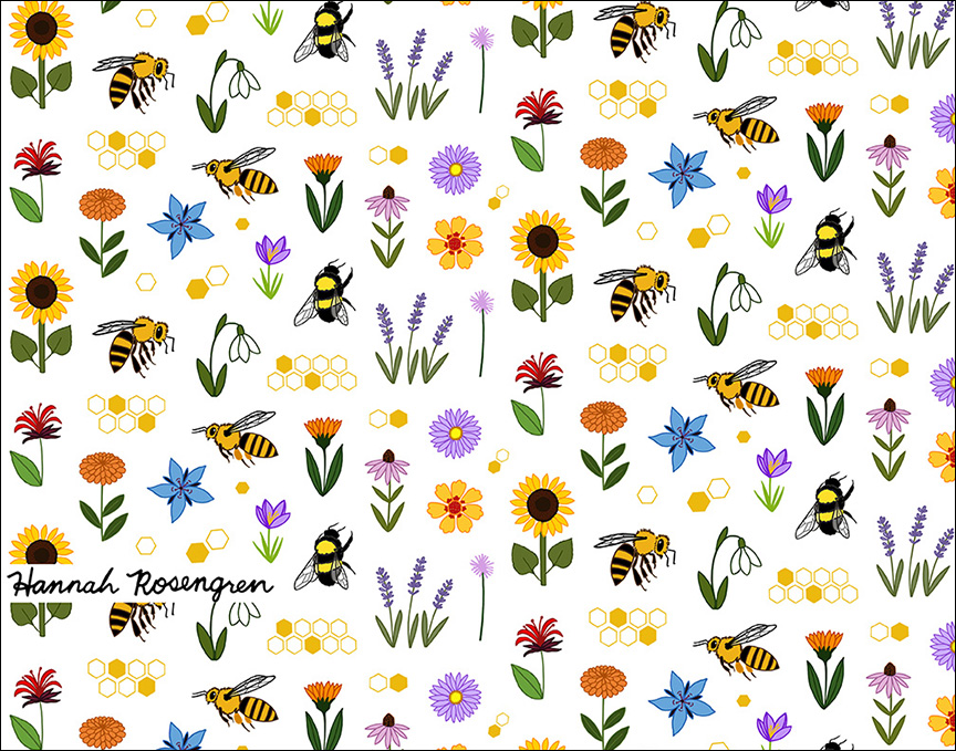 Bee and Flower Pattern 11x14_WEB 72res_BORDER.jpg