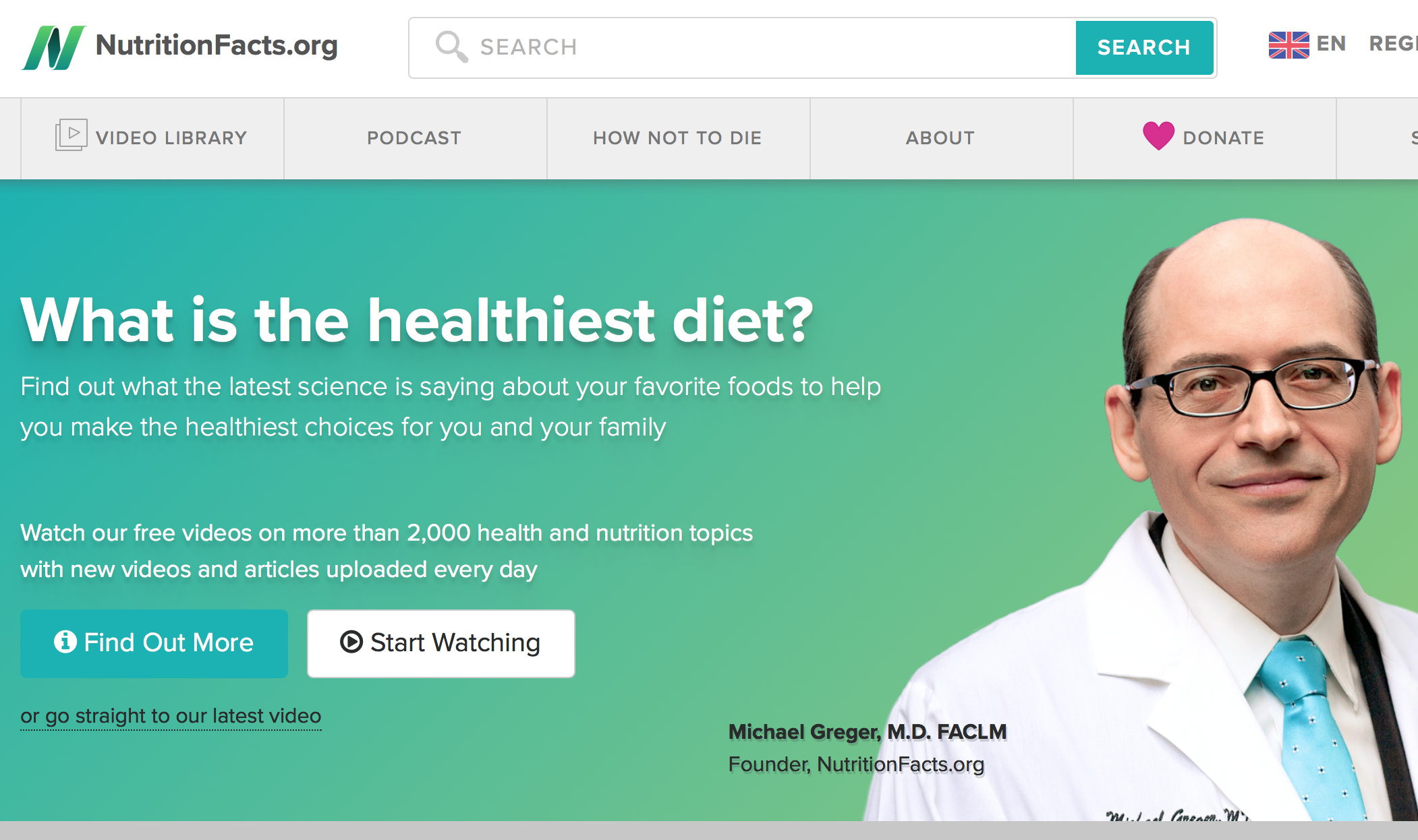 NutritionFacts.org - Michael Greger, MD, FACLM