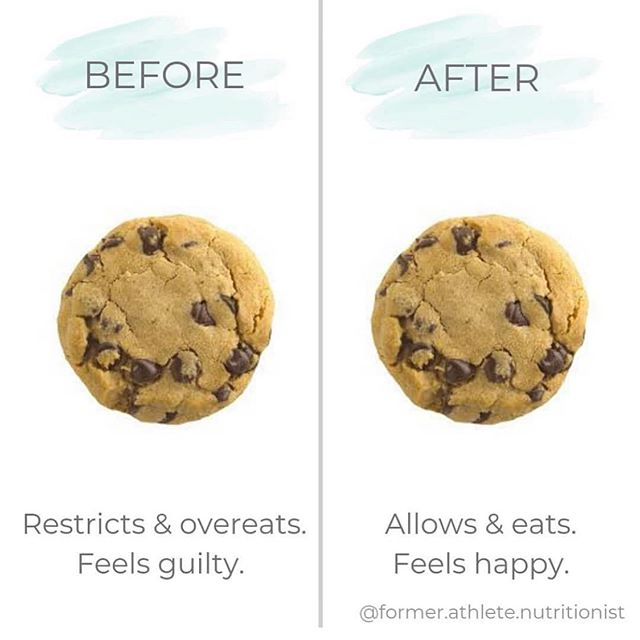 Loving this from @former.athlete.nutritionist 👏🏼👏🏼 The science behind restriction is concrete - restrict foods and you will forever feel guilty of eating those foods, leading to deprivation, anxiety, guilt, and even full-blown eating disorders for some people. ✨ So what do you do? You first learn how to re-trust your self with food, THEN you learn basic nutrition principles and how to implement them into your personal lifestyle (from a qualified heath professional -  not the internet!!!!). ✌🏼✌🏼 #intuitiveeating #intuitiveliving #mindfuleating #yourdietsucks #dietitiansofinstagram #nutrition #nutritionist #health #wellness #foodie #weightloss #weightwatchers