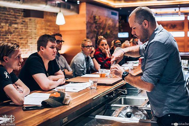 @jasonlittrell working on pour counts and jiggering. #BarMethods #bartender #bartending #nyc #drinks #cocktails #education