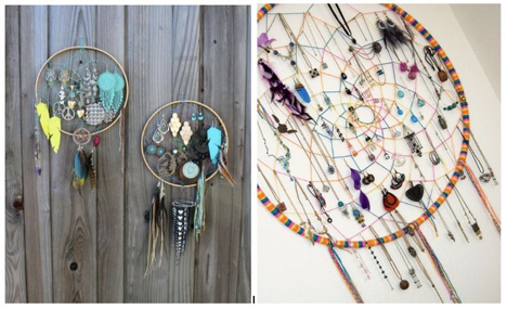 You can either buy a traditional dream catcher like this or make your own. Or for a giant catcher and tons of storage, take a stab at  making one with a hula hoop .