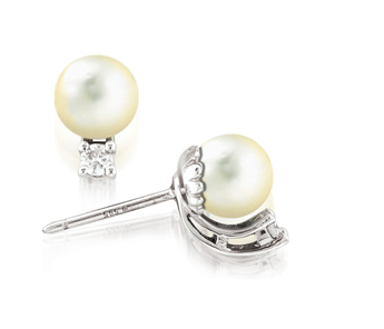 "White Isle White Cultured Pearl Stud Earrings featuring one ""AA"" White Cultured Pearl, 7mm, set in 14K White Gold"