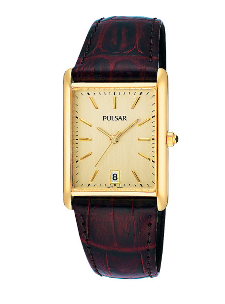 Pulsar Essentials Collection Gold-tone case Leather strap Cabochon crown    Date calendar, Case diameter: 24.5mm, 30M water resistant Caliber VJ32
