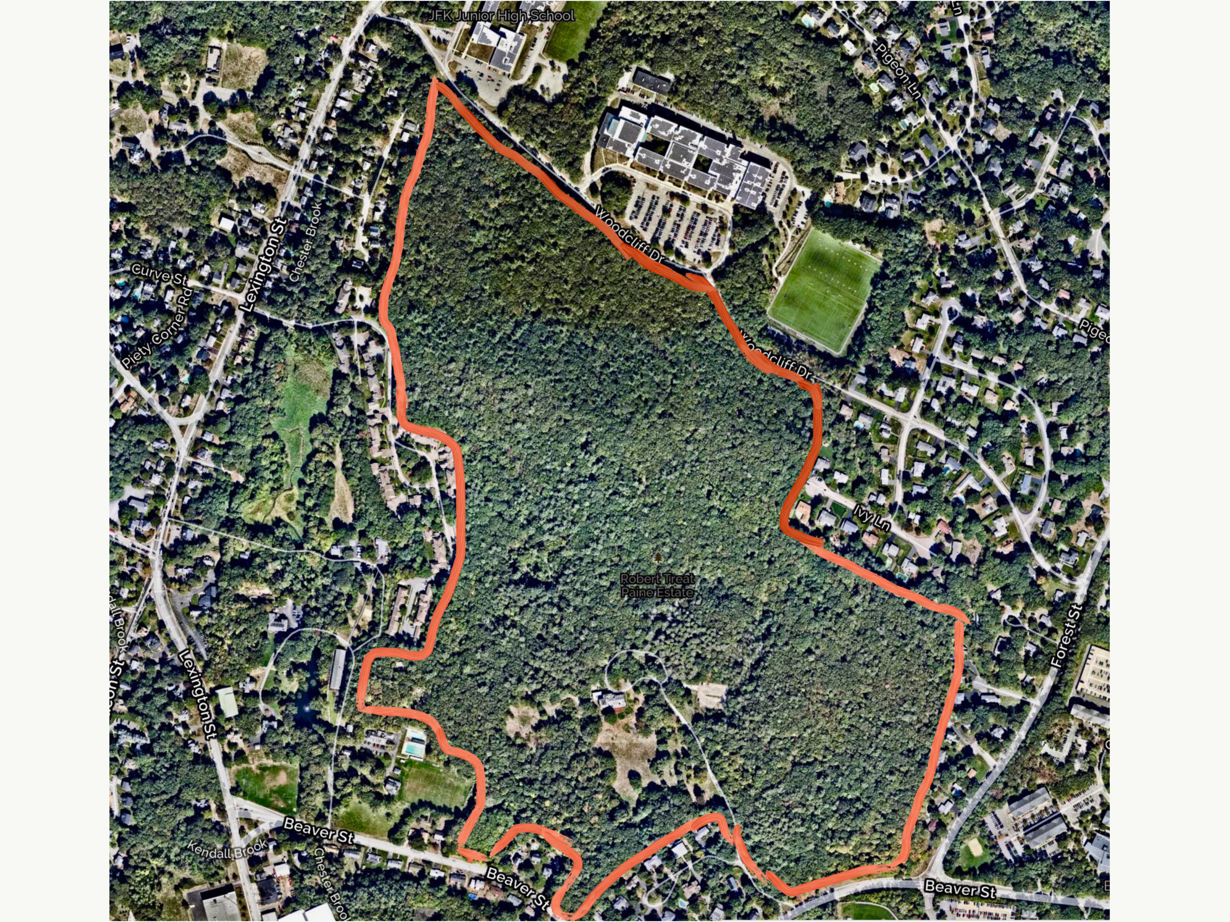 The entire Paine Estate woods outlined in orange