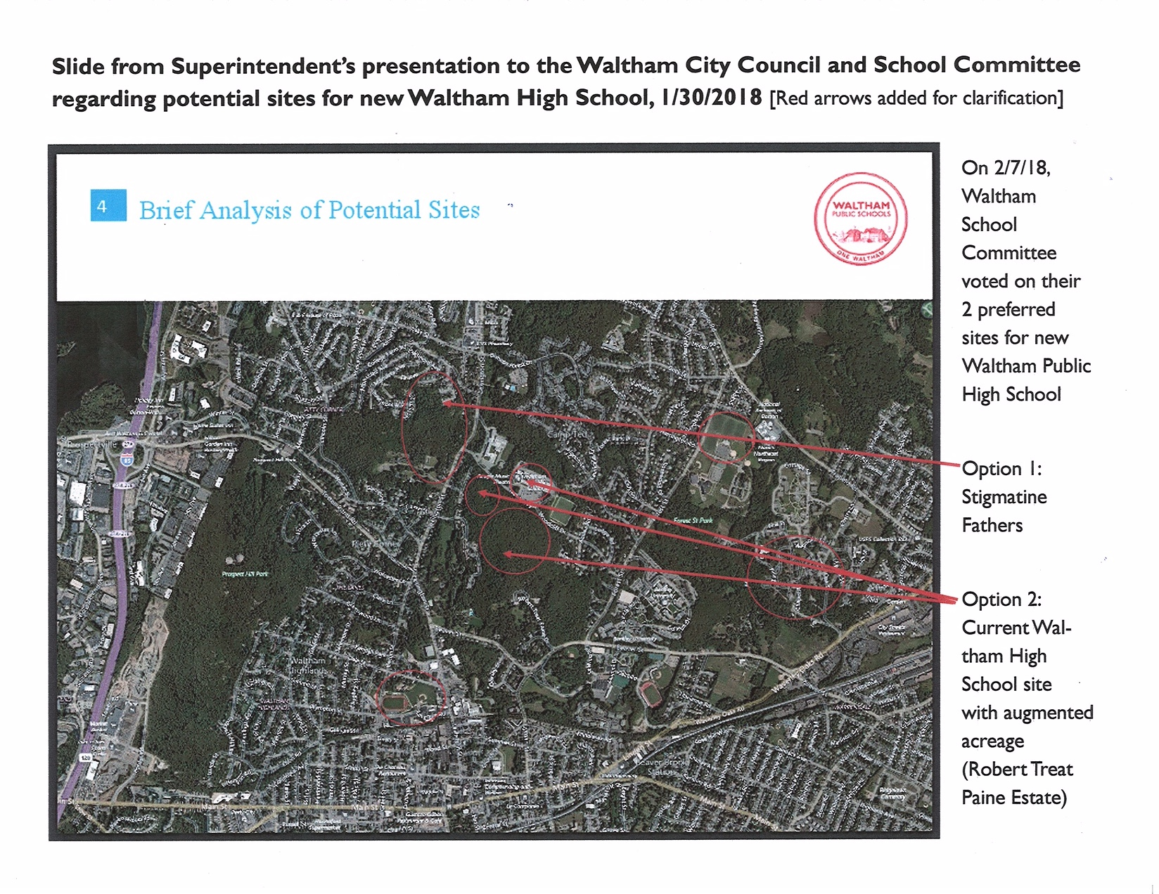 Satellite map of potential sites for new Waltham High School 2.8.18.JPG