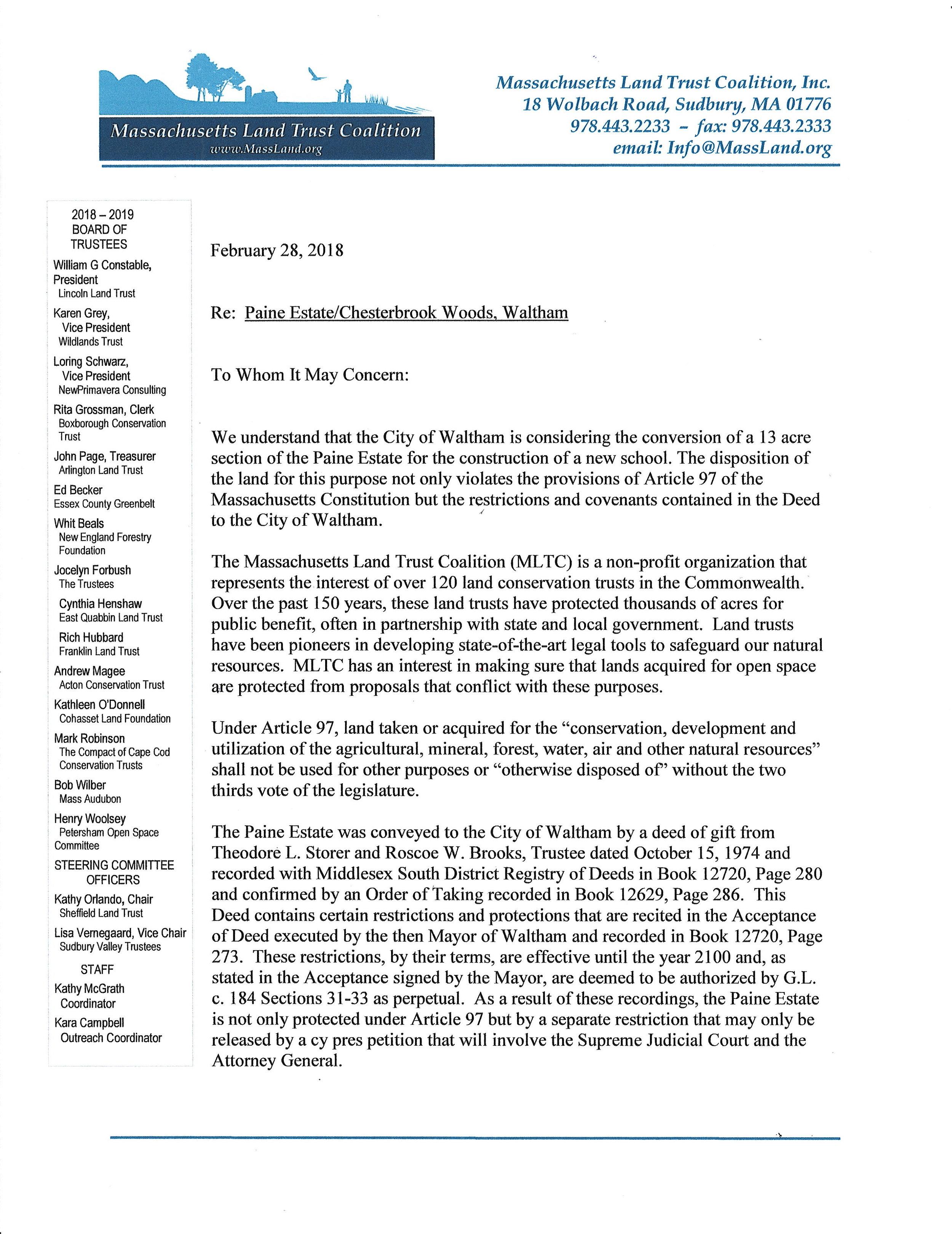 Massachusetts Land Trust Coalation Letter p1