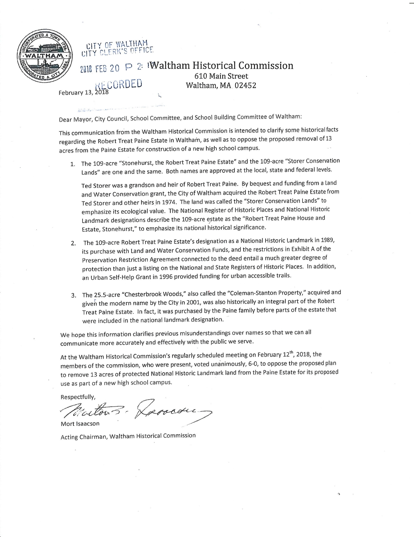 Waltham Historical Commission Letter