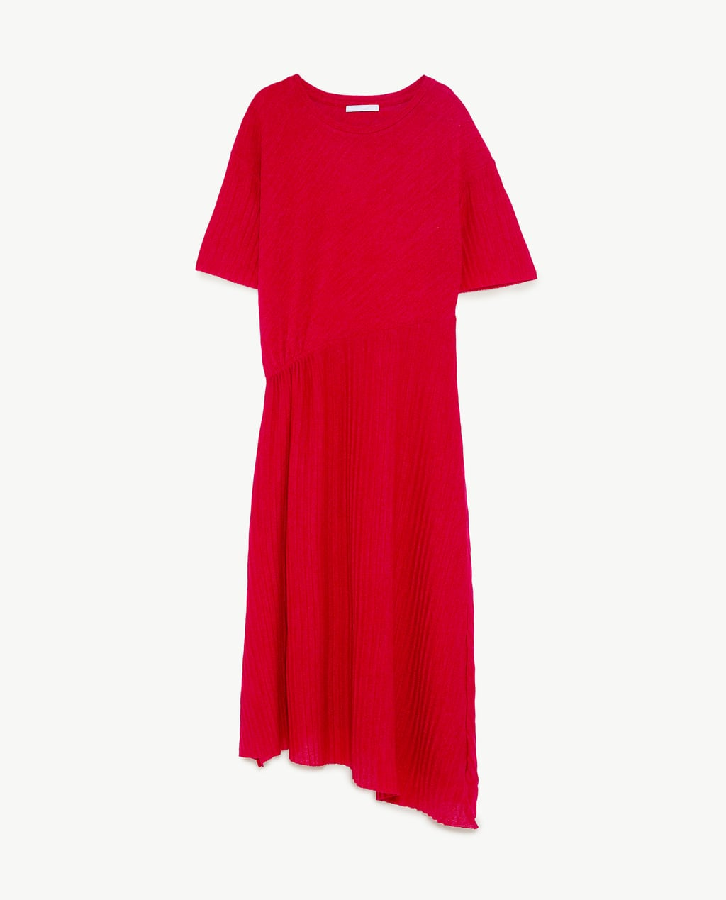 - Round neck dress with short sleeves. Cinched waist with gathered detail on the side. Asymmetric hem.