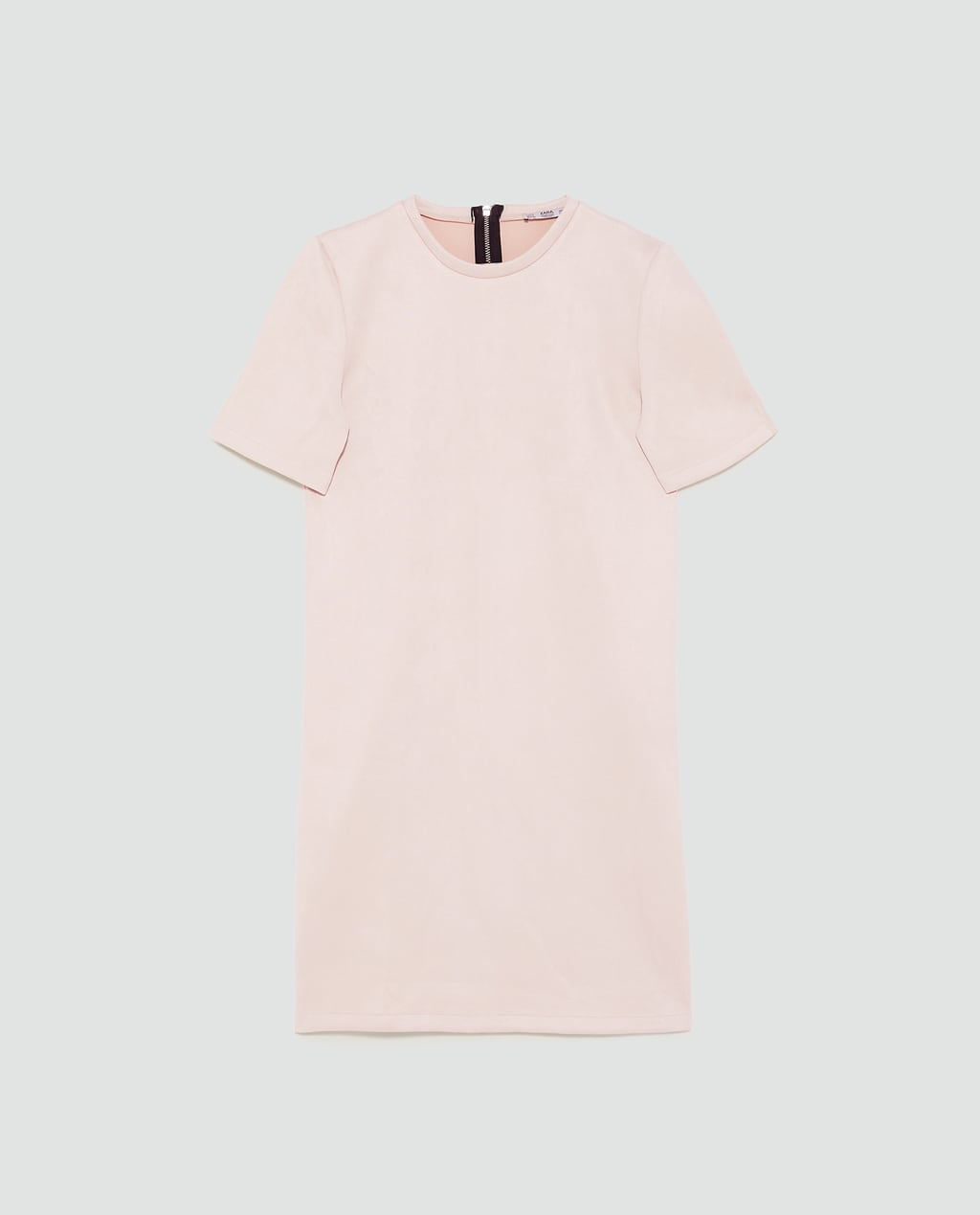 - Round neck dress with short sleeves. Features an A-line silhouette. Fastens in the back with metal zip.