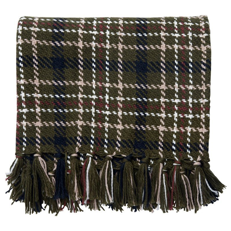 - Giles Plaid Throw $24.50Throws can be added anywhere such as dinning room table chairs or over a sofa and this one is perfect for fall!