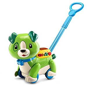 - LeapFrog Step & Learn Scout $20This toy helps promote walking and I love that it plays music as Ethan drags it along.