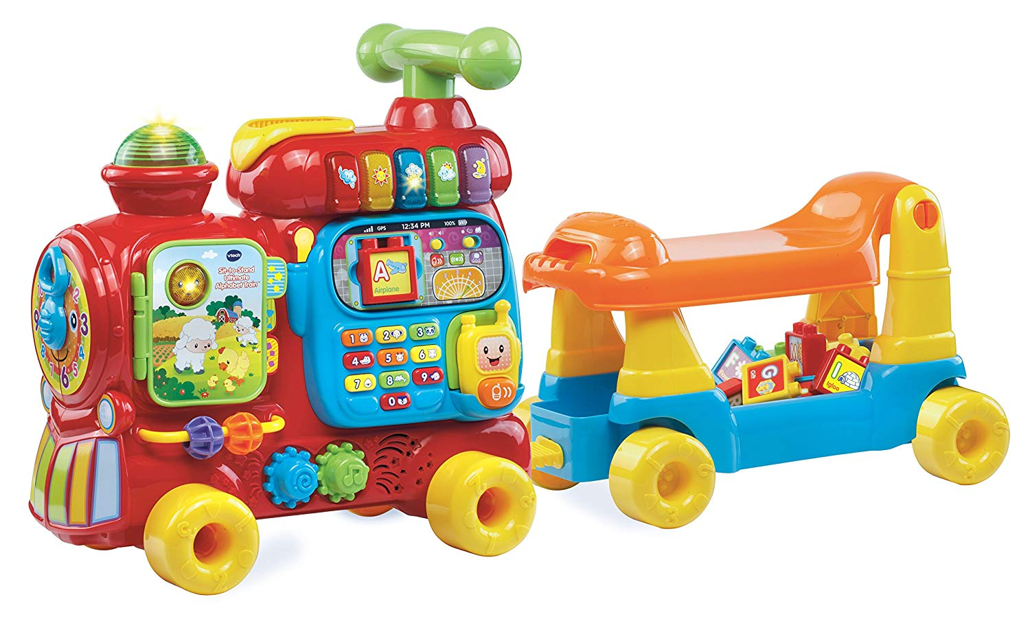 - VTech Sit-To-Stand Ultimate Alphabet Train $60I swear that this toy helped Ethan learn his ABC's. It comes with building blocks with the alphabet on them so it makes for a great learning toy!