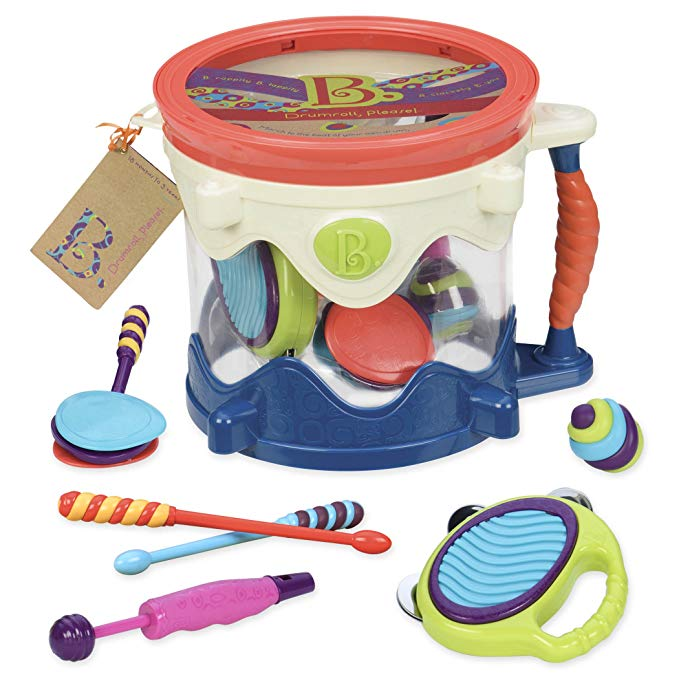- B. Drumroll - Toy Drum Set (Includes 7 Percussion Instruments for Kids) $34.99Ethan was also gifted this toy from B. Toys and he's been playing with this non stop! Lots of pieces so it's nice that it comes with a bucket!