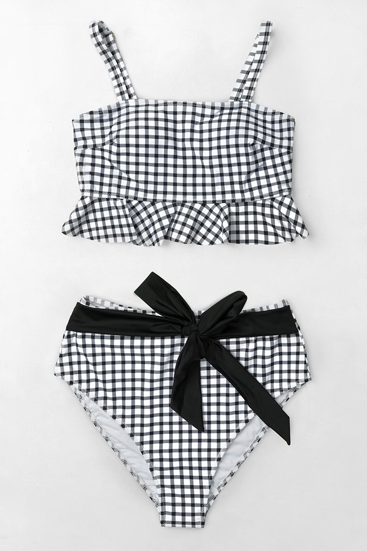 - BLACK AND WHITE GINGHAM BIKINI WITH RUFFLES $25.99