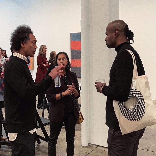 Spotted @_blackpanorama carrying my handmade garment tote after the amazing Artist Talk The Matter of Atrocity: Samuel Levi Jones and Torkwase Dyson, moderated by Nijah Cunningham #zhoushihui #shihuizhou 🙏Always so appreciate friends support!