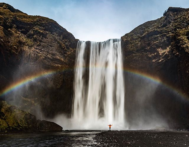 Waterfalls and rainbows. . . #waterfall #rainbow #iceland #traveling #photooftheday