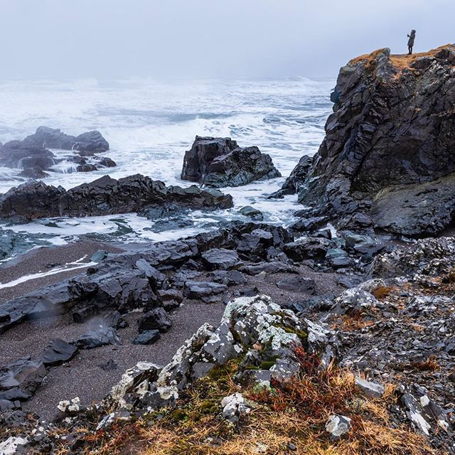 A break in the storm gives pause for us to soak in the beauty of the rugged south coast. . . , #iceland #coastline #winterlandscape #blackrock #solo #naturescape #babakworkshops