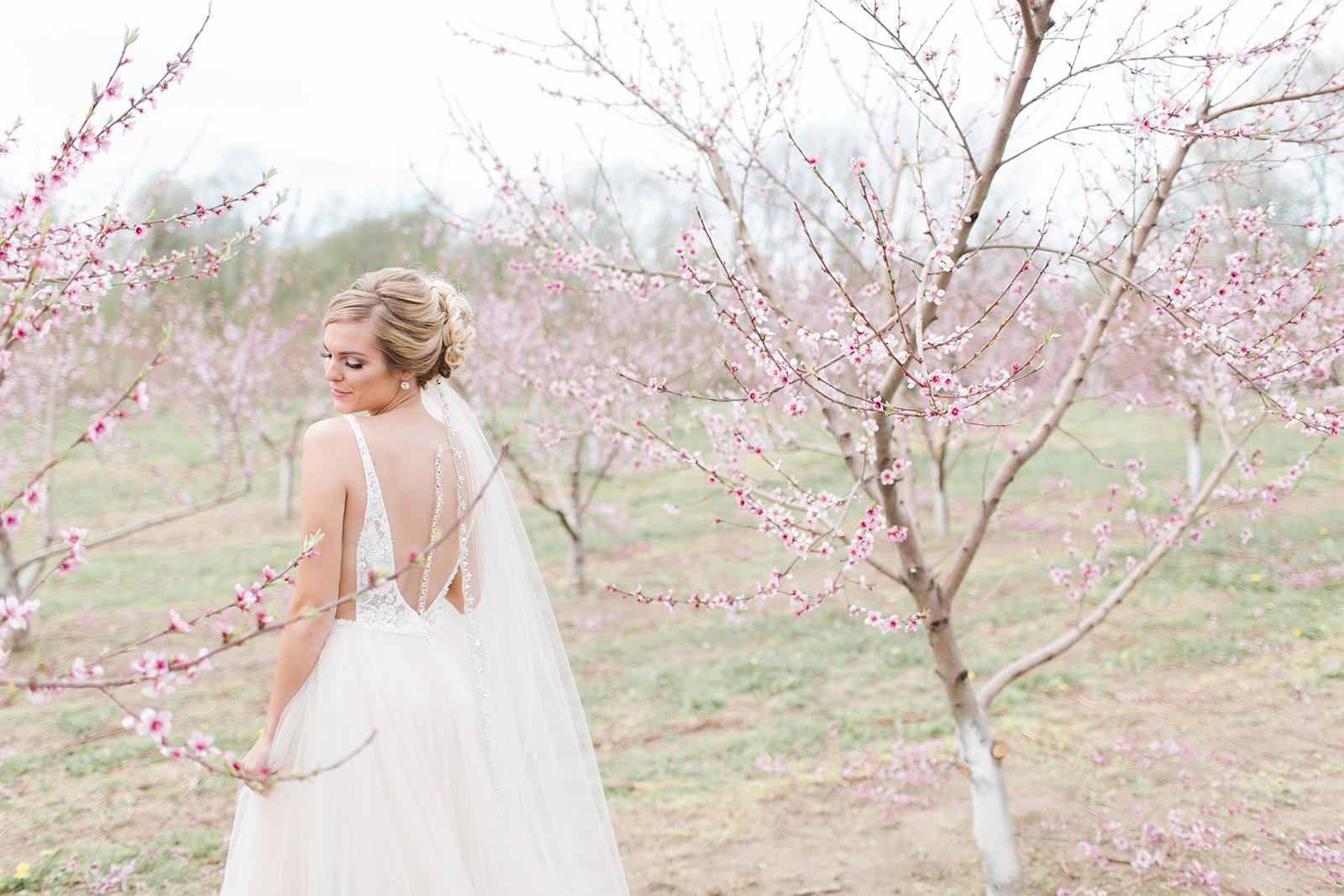 Makeup: Makeup by Jamie, Photo: Arielle Peters Photography, Venue: Apple Blossom Chapel & Gardens, Dress & Veil: Becker's Bridal, Hair: Tova Salon, Model: Maggie Sapp