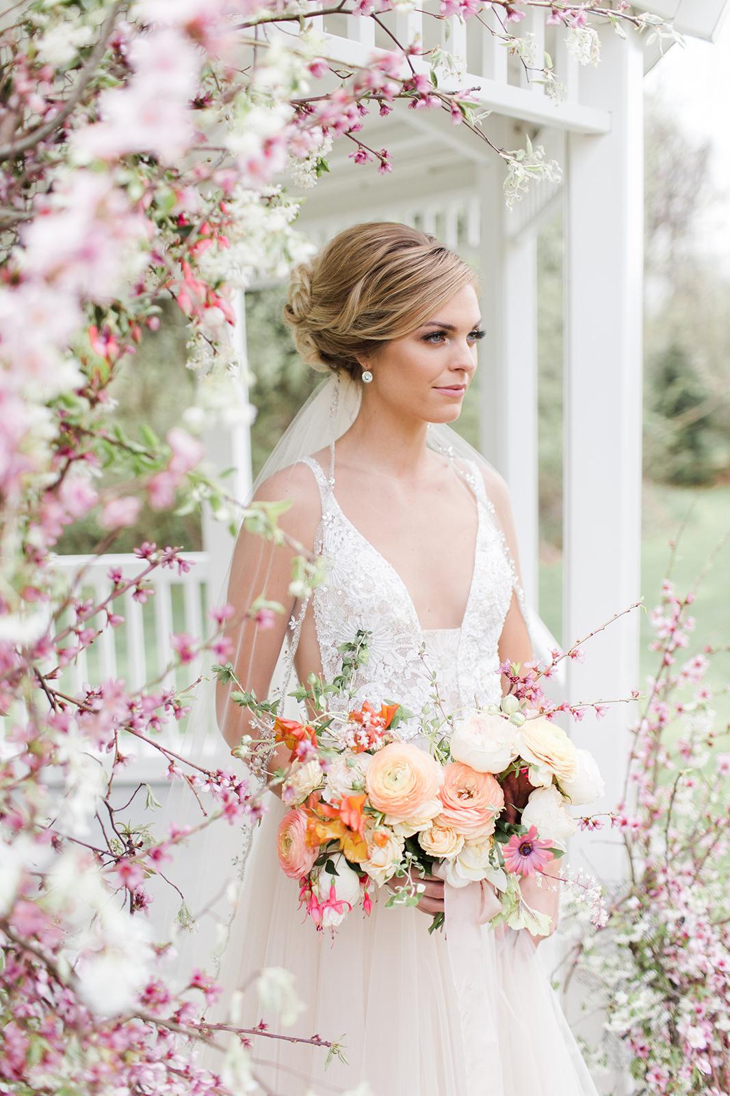 Makeup: Makeup by Jamie, Photo: Arielle Peters Photography, Venue: Apple Blossom Chapel & Gardens, Dress & Veil: Becker's Bridal, Hair: Tova Salon, Model: Maggie Sapp, Florals: The Day's Design