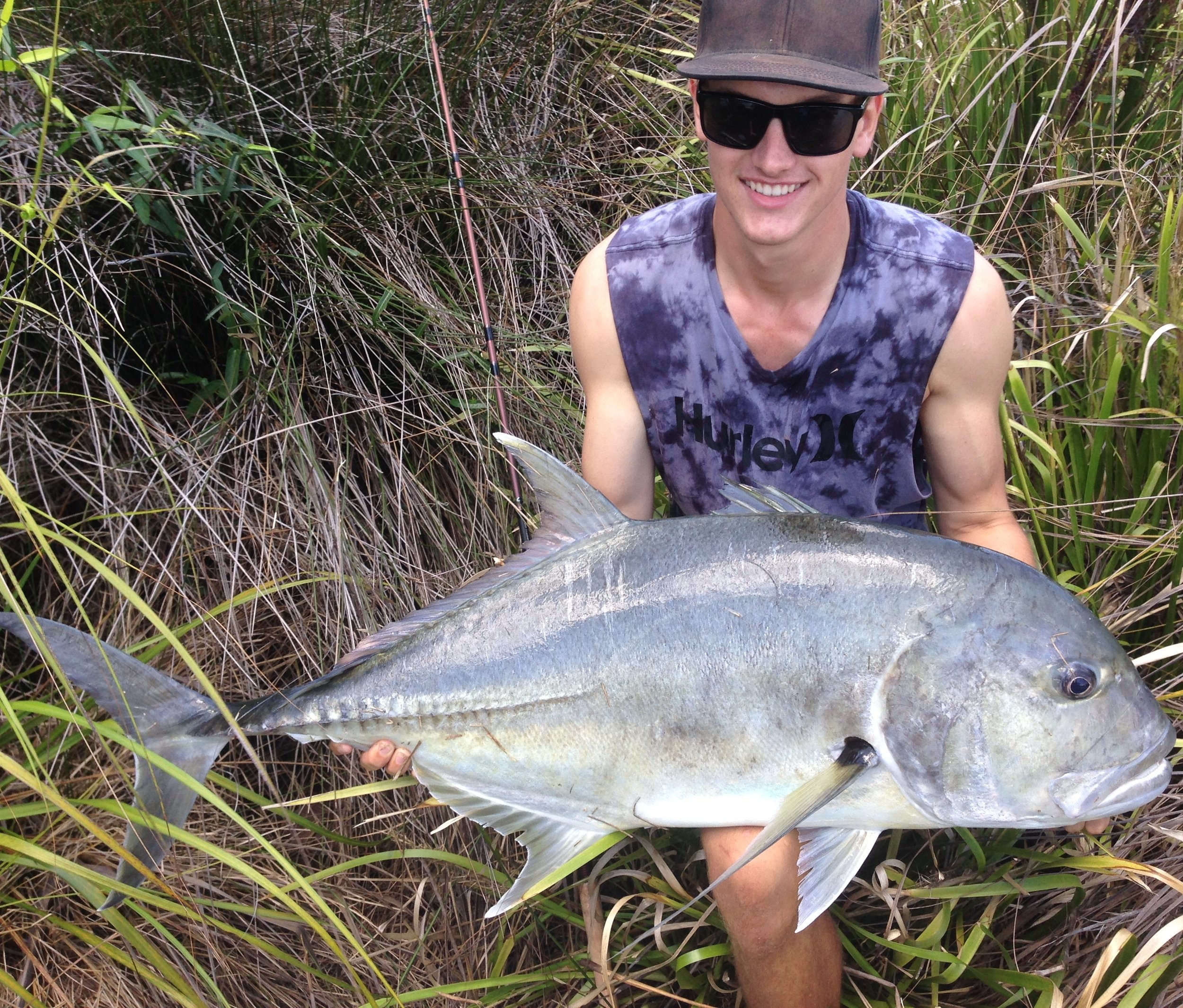 Jack Witek with a jaw dropping Giant Trevally from the estuary! Read the full article and see all the uncut video clips form this once in a lifetime experience in our SCF MEMBERS ONLY section. The fish was released safely.