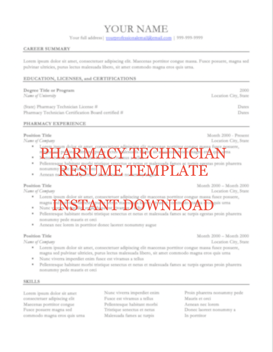 Pharmacy Technician Resume Template Instant Download Academy Apothecary