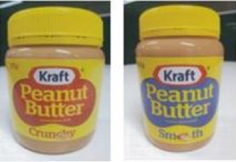 Trying to re-capture some of its lost market share after the sale to Bega, Krafts introduced a new Australian peanut butter product using the same yellow lid, with a red or blue paint device and a transparent jar that has a brown appearance when filled.
