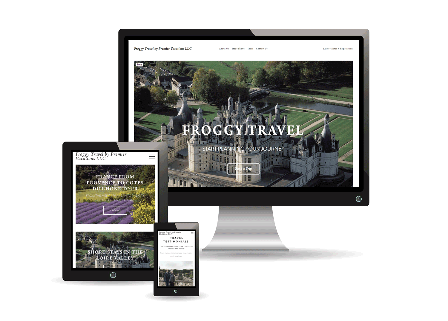 FROGGY TRAVEL | Luxury Travel & Tour Operator Website - Froggy Travel, a luxury travel agency and tour operator with offices in the USA and France, was looking to revamp their online presence and improve their digital marketing and design. They turned to Little Owl Design Studio to develop a site that was intuitive and showcased their tours. Booking and contact forms integrated with Google Drive Sheets and MailChimp have helped them manage and store visitor and booking information. Branded social media profiles were set up on Facebook, Instagram, Twitter, and Pinterest then connected to the site. On the Squarespace platform, we provided a sleek, minimalist design, edited the copy, optimized pages for search engines.Digital ads matching website content were then designed to inspire interest, enhance their online presence, and attract new visitors to the site.