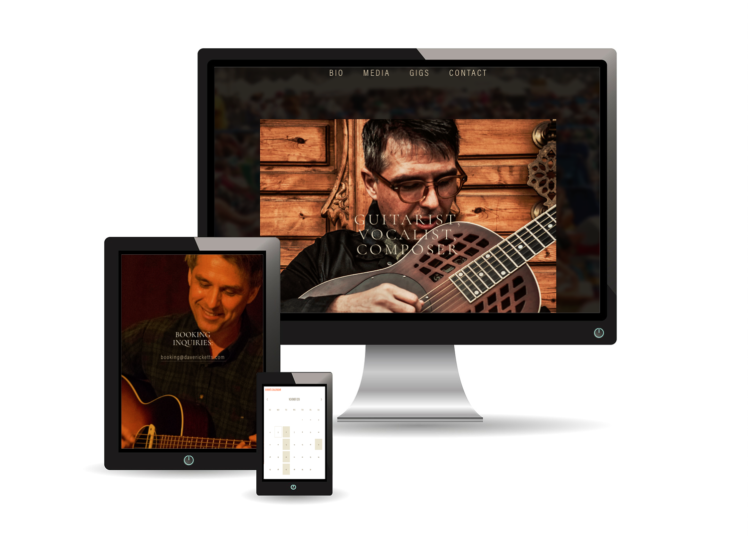 DAVE RICKETTS | Website Design for Musician - San Francisco based musician, Dave Ricketts, wanted to establish his web presence. He needed a website to promote his music and his guitar lessons. Branded social media profiles were developed on Facebook, Instagram, YouTube, and Twitter, then connected to the site. On the Squarespace platform, we provided a photo-rich design, wrote copy, added videos, and optimized pages for search. In addition, MailChimp was integrated to capture email subscribers, sound tracks were embedded, and a Bands in Town calendar was integrated.