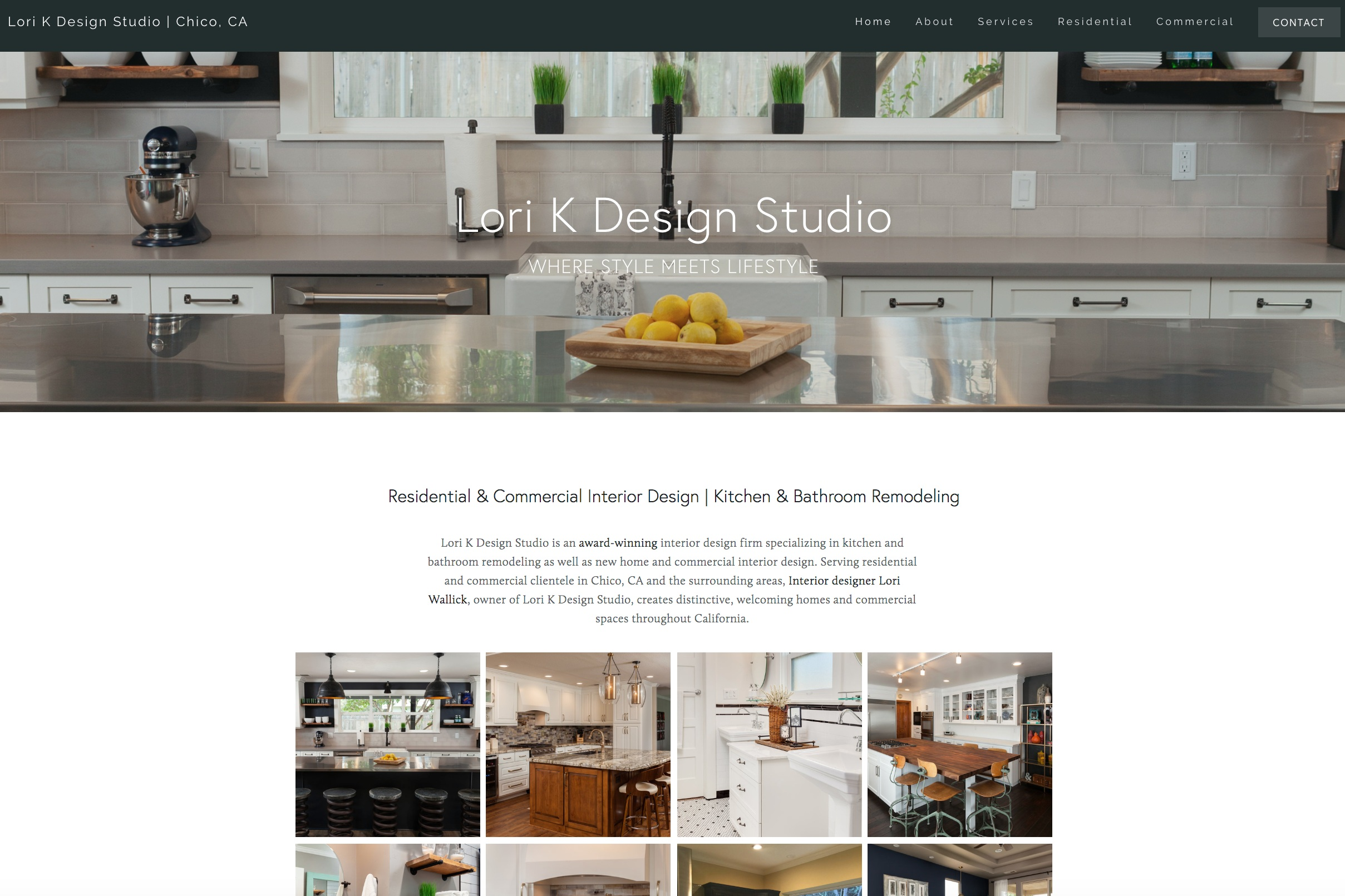 LORI K DESIGN STUDIO | Interior Design Firm Website - Interior design and decorating firm, Lori K Design Studio based in Chico, California, was looking for a solution to showcase their interior design portfolio and establish an online presence. They turned to Little Owl Design Studio to create a website that reflected their style. Branded social media profiles were developed on Facebook, Instagram, Twitter, Pinterest, Houzz, Google Plus, and Yelp then connected to their site. On the Squarespace platform, we provided a photo-rich design, wrote copy, and implemented on-page SEO.