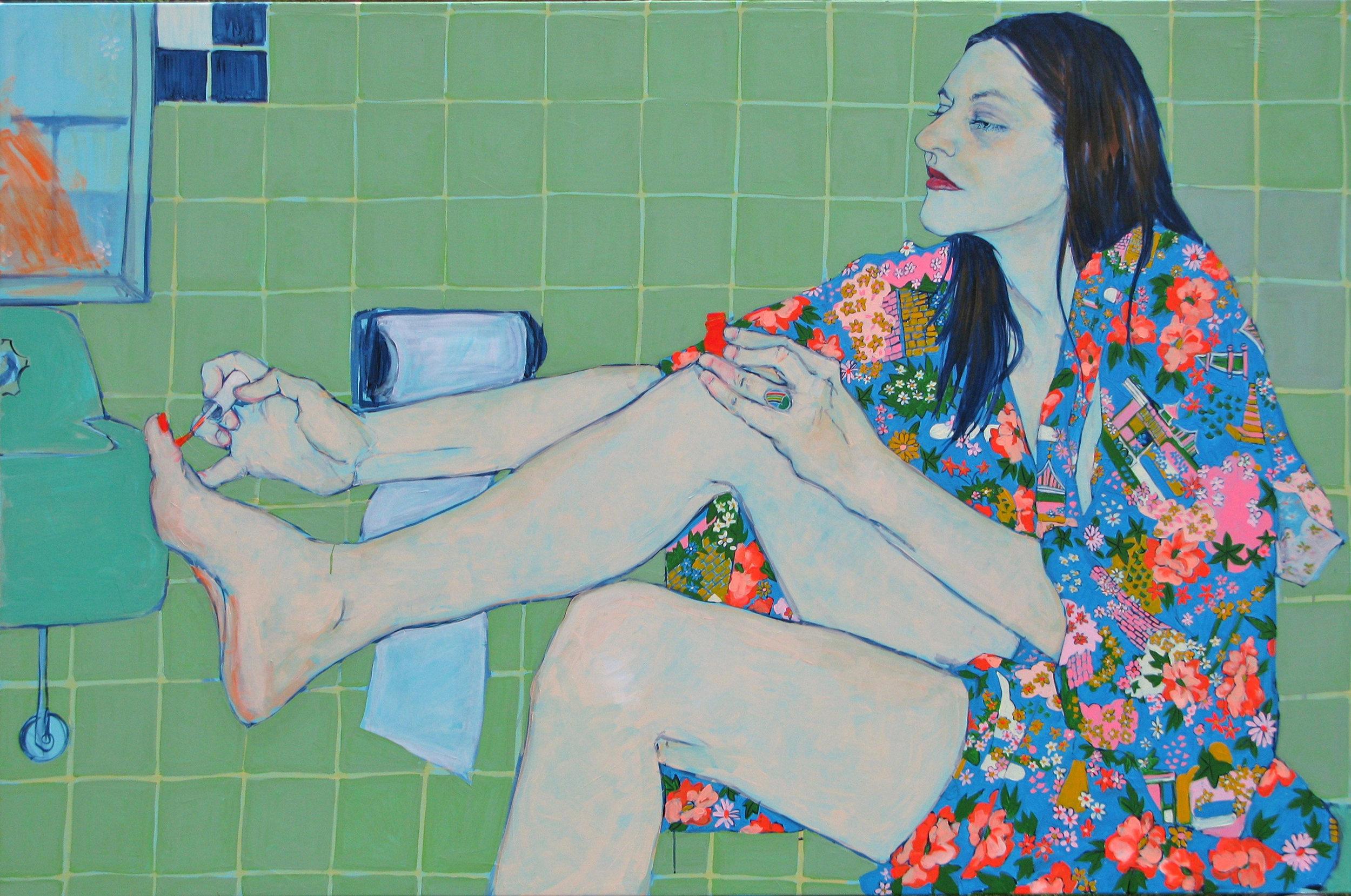 Sara VanDerBeek in Her Bath Closet