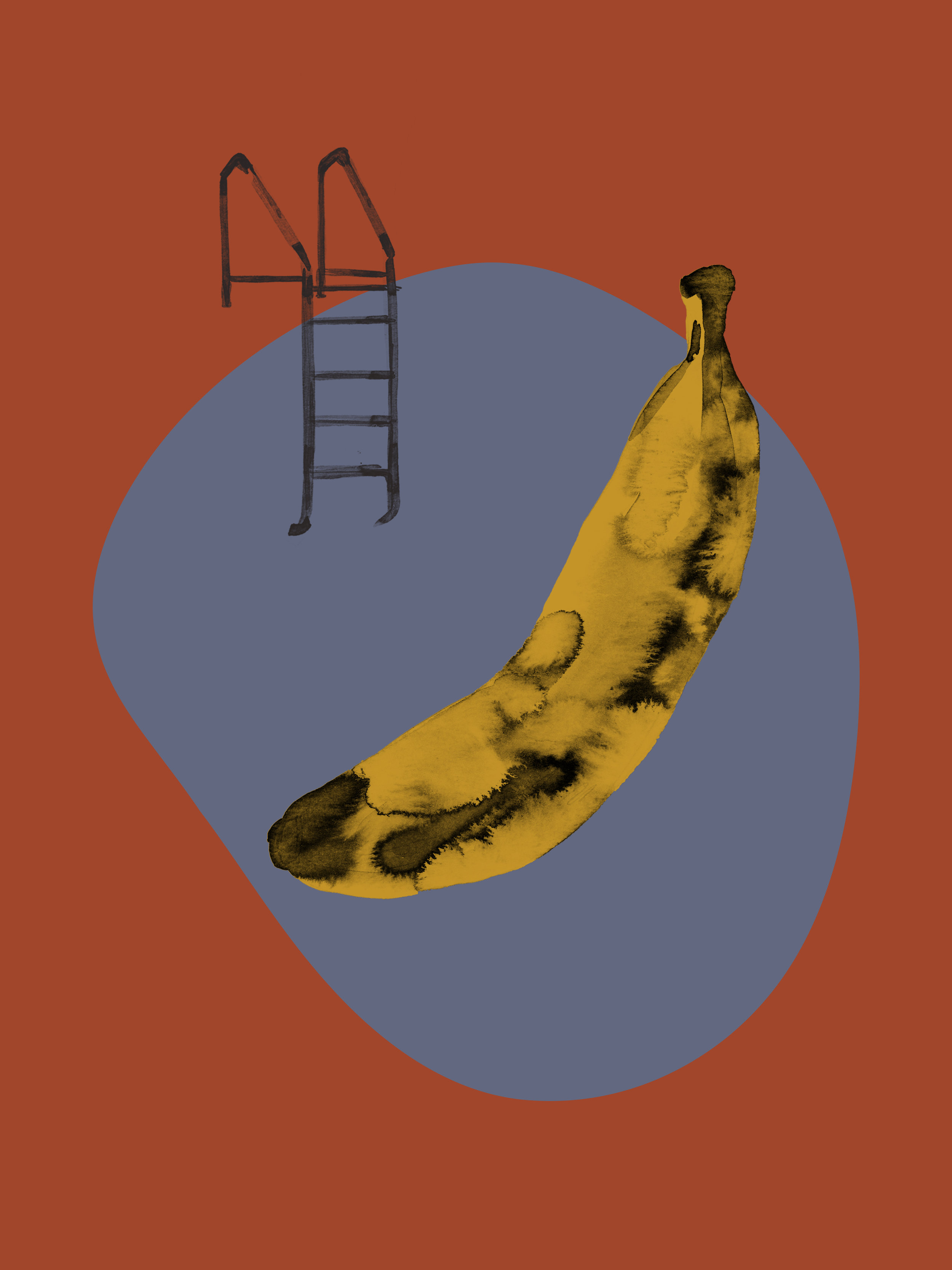 Banana   Ink and Photoshop  2018, Fruit Series