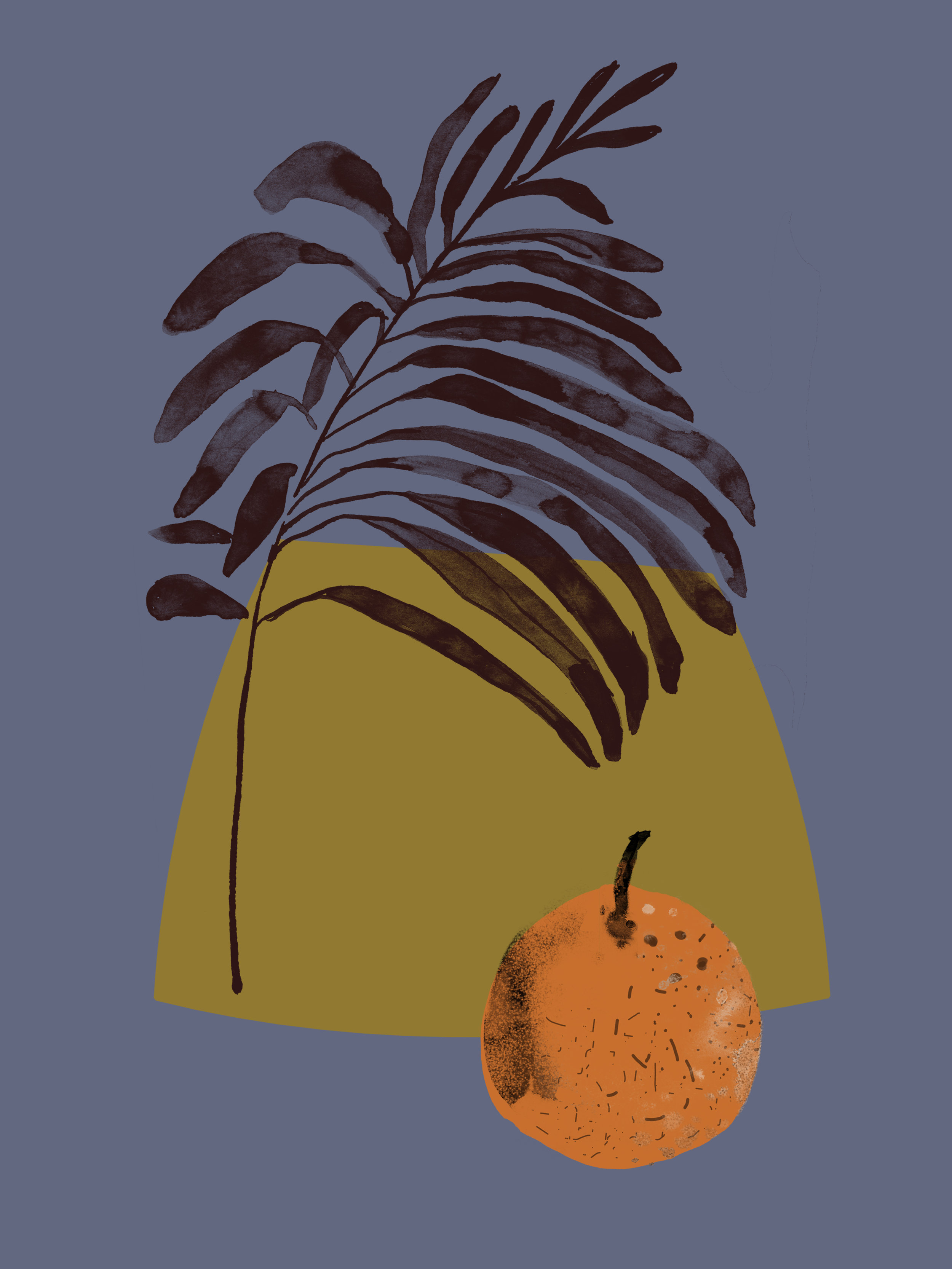 Orange   Ink and Photoshop  2018, Fruit Series