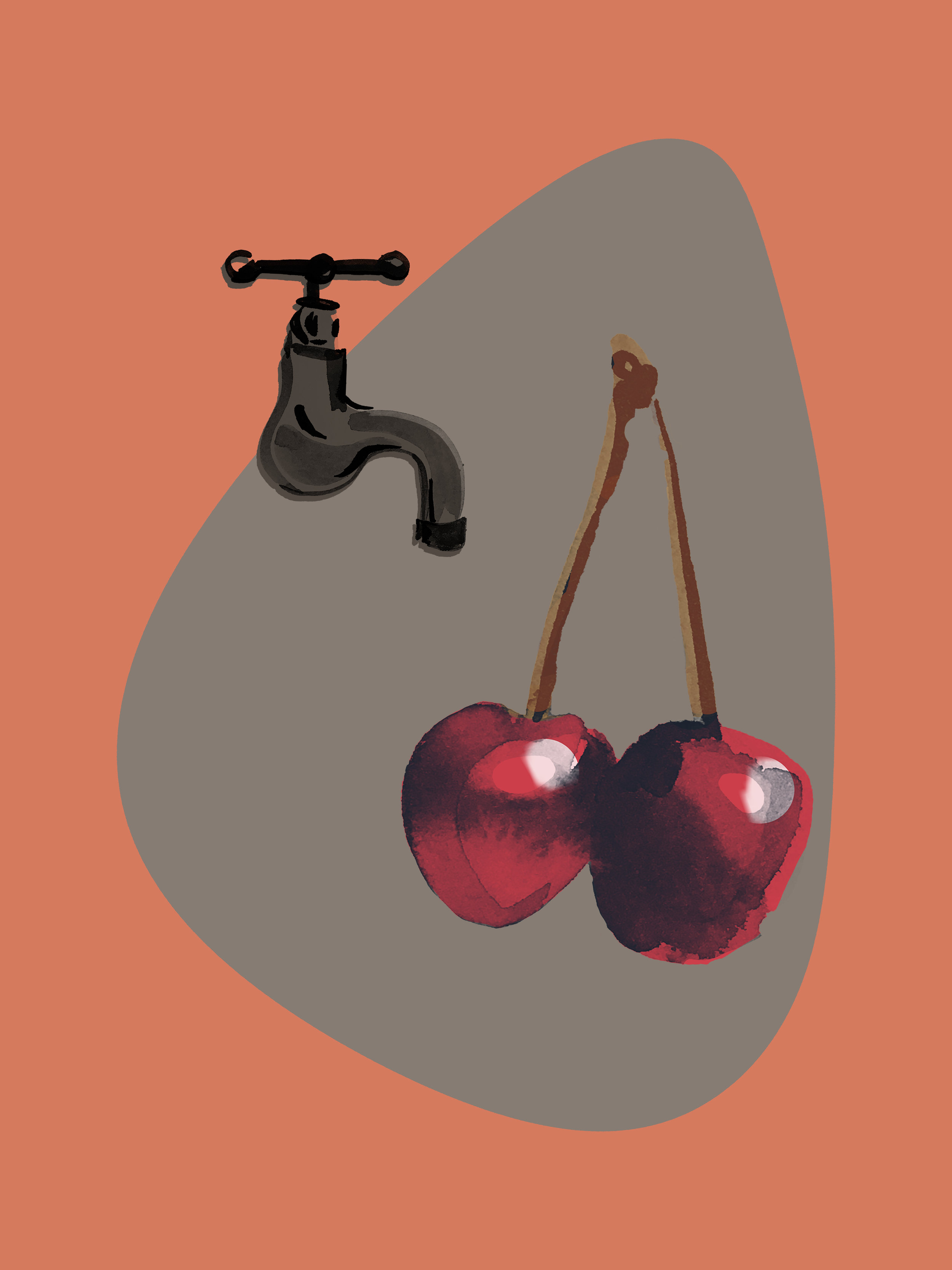 Cherry   Ink and Photoshop, 2018   Fruit Series