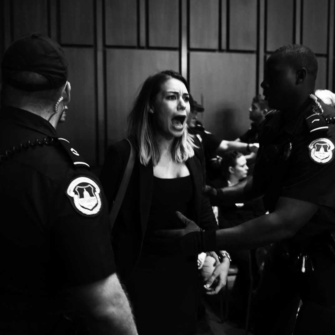 #CancelKavanaugh - On the first day of the Senate confirmation hearings for Brett Kavanaugh, Capitol police forcibly removed, handcuffed, and handed civil-disobedience charges to 70 people, including Women's March WI State Co-Chair, Sarah Pearson, as seen in this photo, who had traveled to Washington, D.C., to protest Donald Trump's wildly unpopular SCOTUS nominee.https://www.thecut.com/2018/09/kavanaugh-confirmation-hearings-photos-of-protesters.htmlPhoto: BRENDAN SMIALOWSKI/AFP/Getty Images