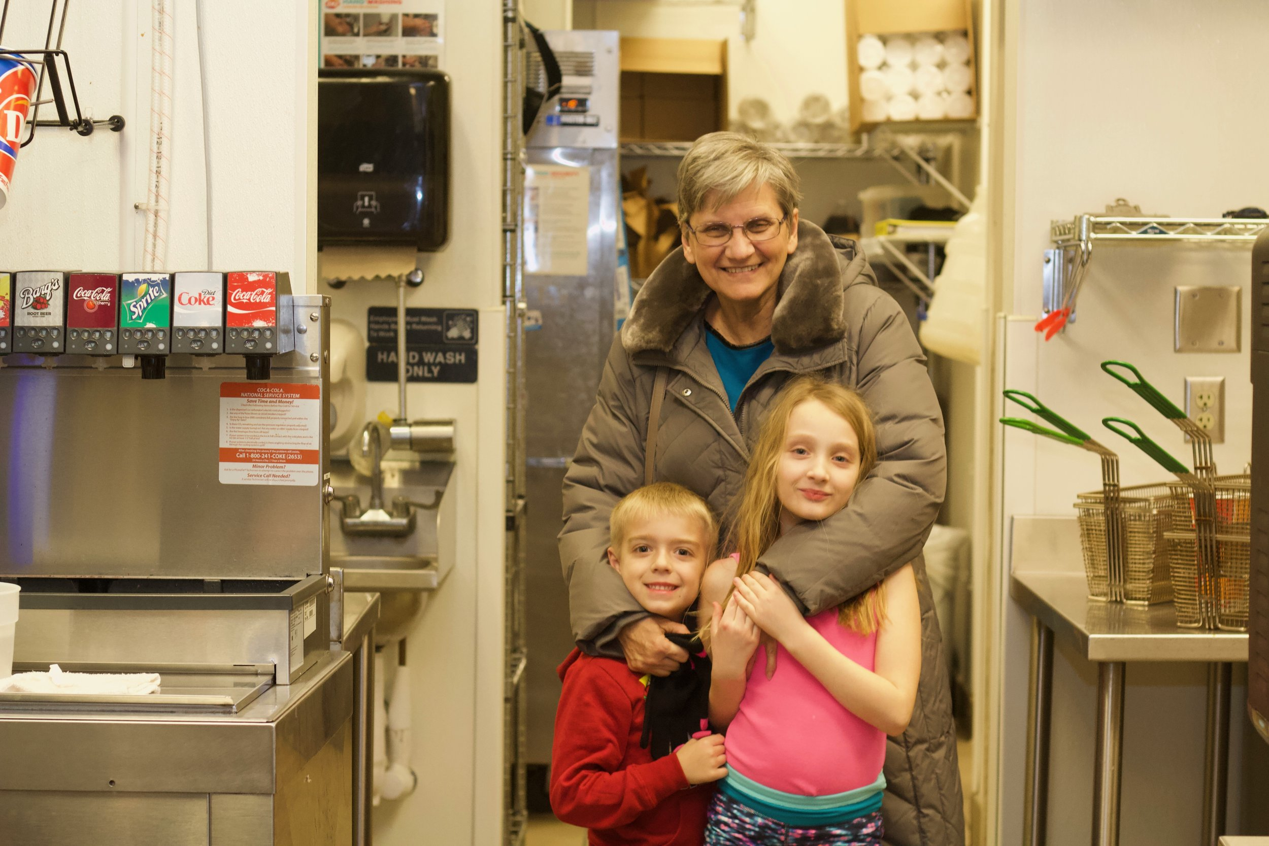 Arlene with her grandkids, Jami and Zach at the new Grill and Chill Dairy Queen on 1740 Roosevelt Ave