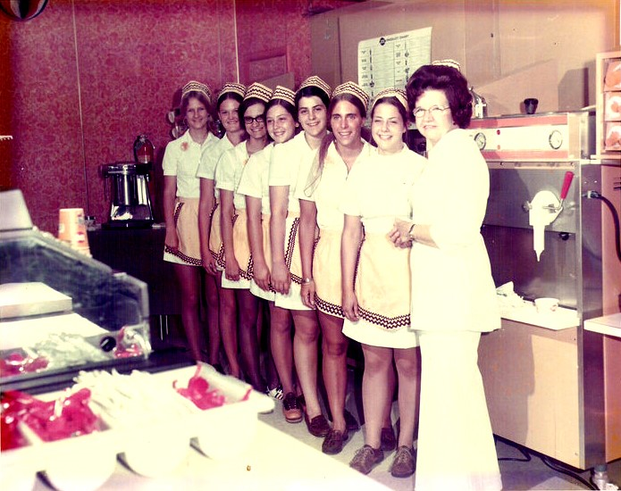 Arlene in 1972 at her first Dairy Queen job on East Market St in York PA.  Arlene is third from the left with glasses.